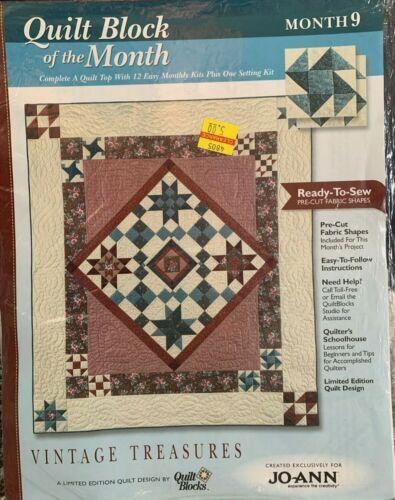 JoAnn/'s VINTAGE TREASURES Quilt Block Month Kit w//fabric /& color InstructionsNEW