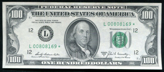 1969-A $100 *STAR* FRN FEDERAL RESERVE NOTE SAN FRANCISCO, CA GEM UNCIRCULATED