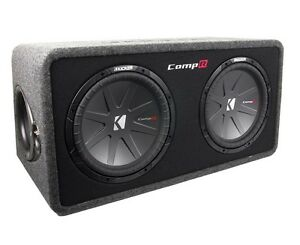 "Kicker 40DCWR122 12"" 3200 Watt 2-Ohm Loaded Car Subwoofers + Sub Box Enclosure"