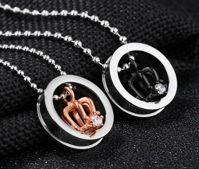 8b755d7094 2 Pcs Stainless Steel Crown His and Her Promise Matching Love Couple  Necklace