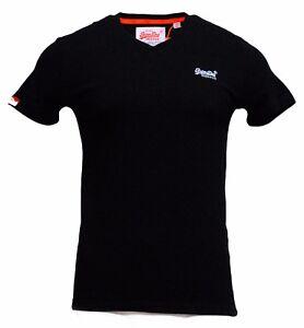Superdry-Mens-Orange-Label-Vintage-Embroidered-V-Neck-T-Shirt-Black
