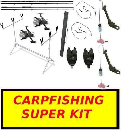 Kit Carpfishing  2 Canne 2 Mulinelli 2 Segnalatori 1 Pod 1 fodero 2 PB2276