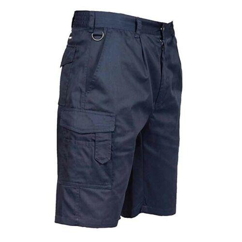 Portwest NAVY Combat Shorts Elasticated Waist Work Cargo Durable Pockets