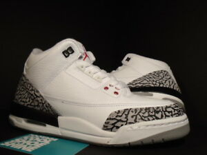 e86a2f25fee70f Nike Air Jordan III 3 Retro WHITE FIRE RED CEMENT GREY BLACK 398614 ...