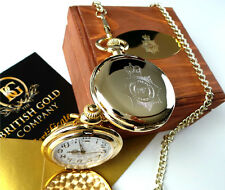 UK Police Force 24k Gold Plated Pocket Watch Real Wood Gift Case BADGE CRESTED