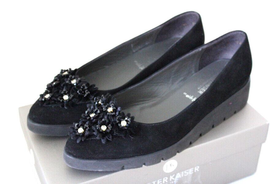 PETER KAISER Damen eleganter Slipper Velours- Leder schwarz Nieten Gr 40 NEU W8