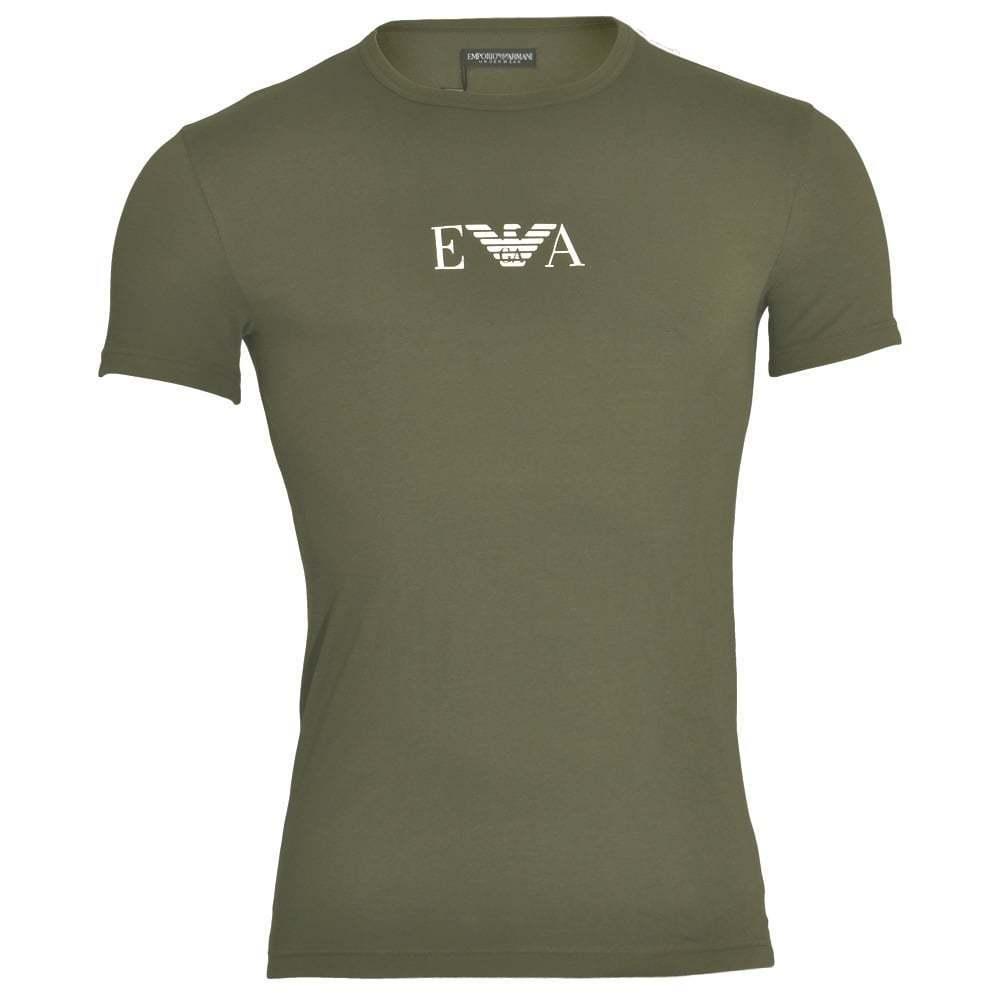 EMPORIO ARMANI Biancheria intima coloreate cotone stretch logo T-shirt girocollo militari