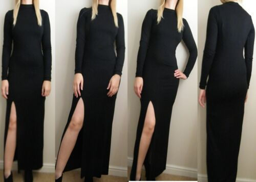 BLACK TURTLE NECK THIGH SPLIT MAXI DRESS 6 8 10 12 14 16 PETITE REG TALL