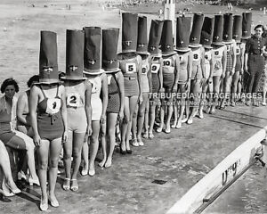 Vintage 1936 FACELESS BATHING SUIT BEAUTY CONTEST Photo - Swimsuits Bizarre Odd