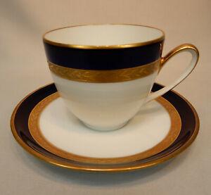 Hutschenreuther gebr elfenbein mit breitem Goldrand Kaffeetasse Untertasse f