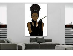 African-Wall-Art-Woman-in-Audrey-Hepburn-Style-CANVAS-PRINT-Painting