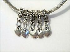 Puffy Heart Love Family Friends Dangle European Charm Bead Set 5pc Lot