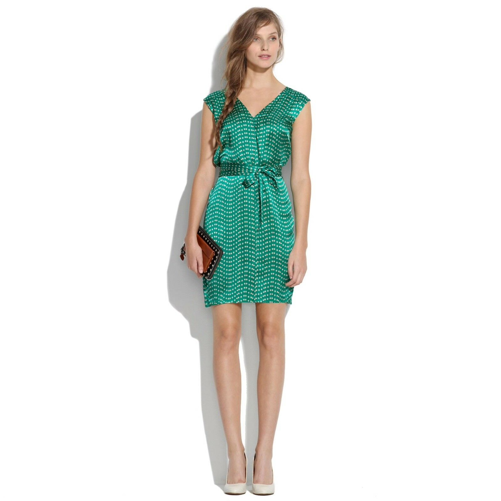 NWT MADEWELL Broadway & Broome Belted Silk Dress in Dashdot, Green,Size XS,  158