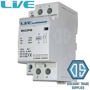 40 Amp 2 Pole Contactor AC 8.4kW Normally Open DIN Rail Mount Heating Lighting 5060316234686
