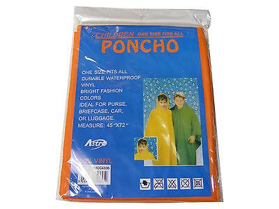 Bambini/bambini Arancione Poncho Impermeabile Riutilizzabili Vinile Plastica - Buono Per Succhietto Antipiretico E Per La Gola