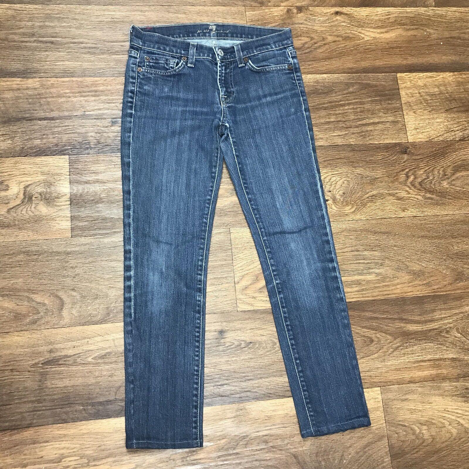 7FAM Sz 25 Seven For All Mankind Roxanne Skinny Stretch Jeans Womens Dark Wash