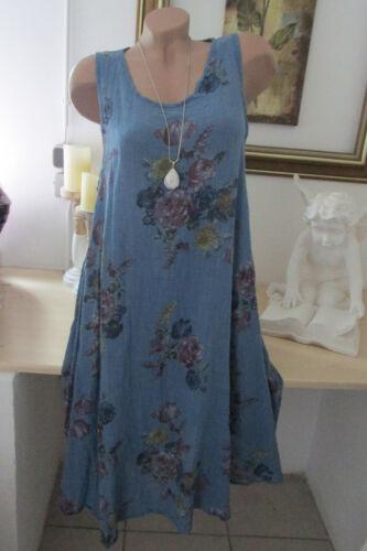 Strandkleid Damen Blumen Kleid Baumwolle Oversize Midi Sommer Blau 42 44 46
