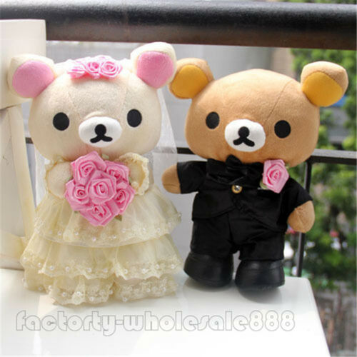 10inch Couple Dress Huaband Wife Rilakkuma Bear Wedding Marriage Dolls Toy gift