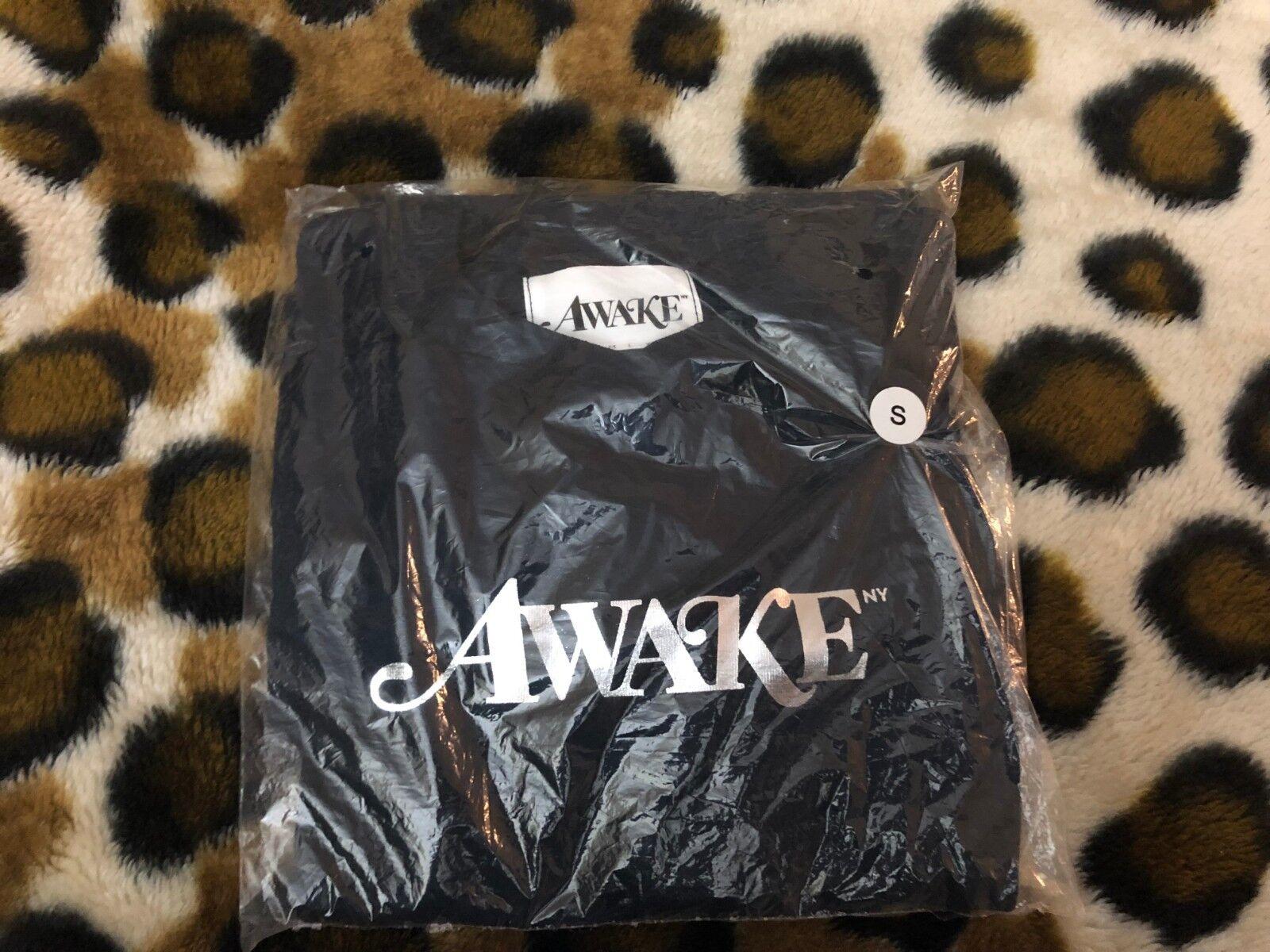 New Awake NY Metallic Foil Logo Tee mens sz Small Navy Angelo Baque