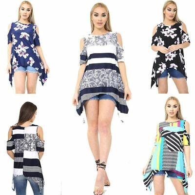 New Ladies Womens  Shoulder Cut  Baggy  Dress Top Plus Size 8-26