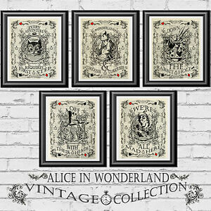 Original Art Imprimer Page Livre ancien dictionnaire Alice au pays des merveilles Upcycled