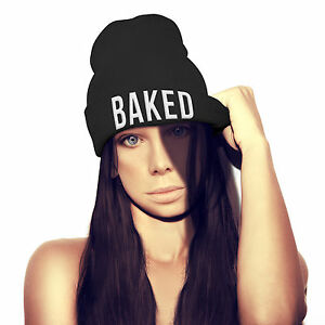 c892478d4aa Image is loading Baked-Beanie-Hat-UNISEX-Hipster-Marijuana-Drugs-Cannabis-