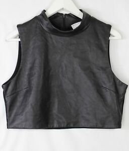 Witchery-back-high-neck-sleeveless-cropped-top-with-genuine-leather-front-M