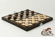 STUNNING DRAUGHTS/CHECKERS SET !!! VARNISHED PIECES HORNBEAM WOOD !!!