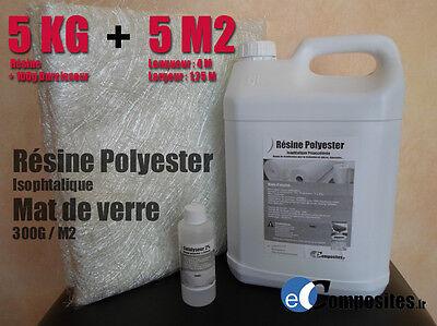 Bidon de Résine polyester iso 5 kilos + catalyseur + 5 M2 mat 300Gm2
