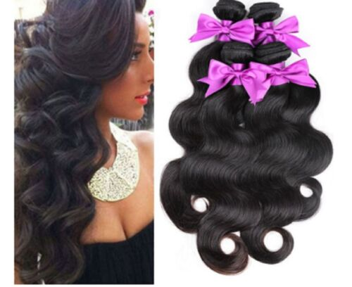 100% Brazilian Virgin Remy Human Hair Body Wave Weave Weft Extensions Black X 3
