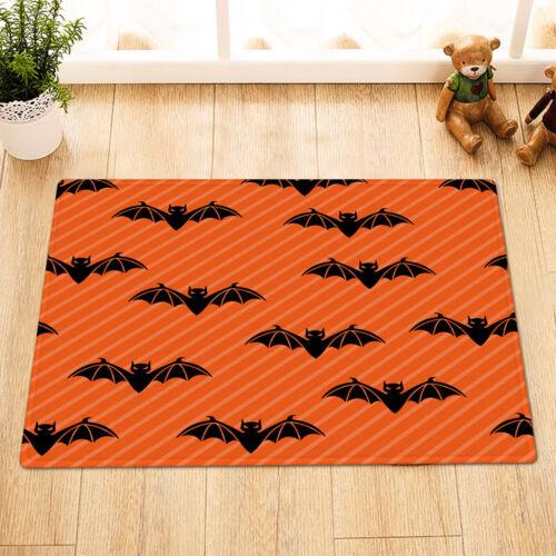 Halloween Orange Background Black Bats Shower Curtain Set Bath Waterproof Fabric