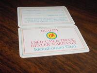 1960's 1970's Chevrolet Corvette Camaro Nova Ok Used Car Truck Warranty Card