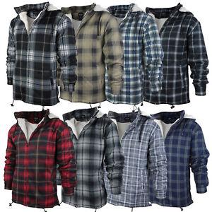 Men-039-s-Heavy-Fleece-Lined-Sherpa-Hoodie-Plaid-Flannel-Jacket-With-Hood
