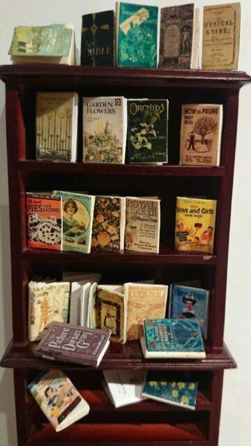 dolls house miniature books, vintage style cook, garden & sew job lot of 11 SALE