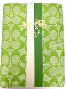 Coach-Green-White-Leather-Heritage-Stripe-Passport-Case-Holder-Wallet-8-5-x-6-5