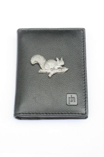 Squirrel On Branch Black Or Blue Real Leather Bifold Card Holder and Wallet 344