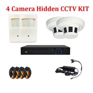 4ch Hd 1 3mp Hidden Cctv Surveillance Camera Kit Pir Smoke