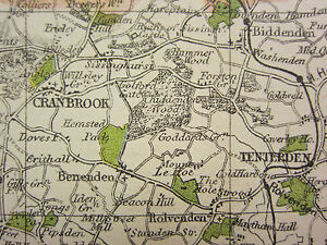 1920 COUNTY MAP of KENT MAIDSTONE TONBRIDGE ASHFORD FAVERSHAM
