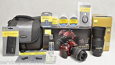NIKON RED D3200  - DELUXE 17x  VR Zoom Kit w/ 2 Nikon VR Lenses & MUCH MORE!