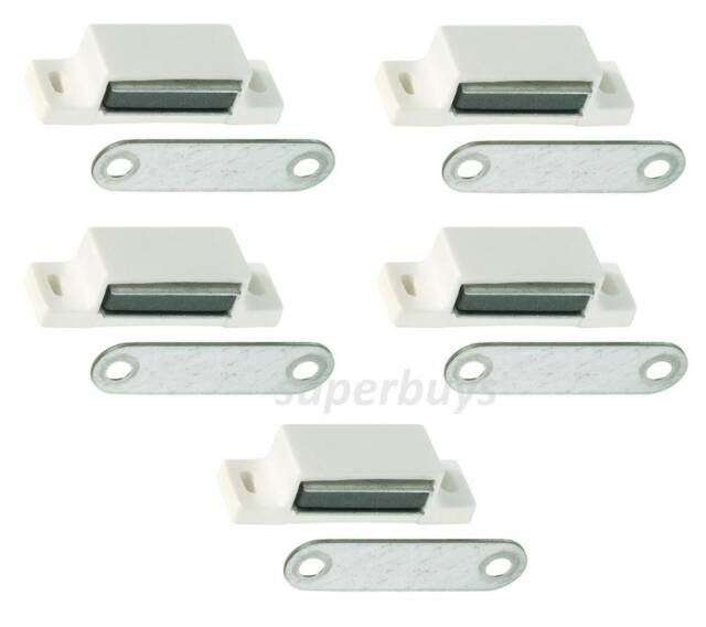 White 5pc 42mm Magnetic Latch Cabinet Cupboard Door Fasten Snap Clasp Magnet