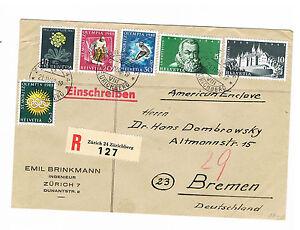 Suisse Belle R-lettre Recommandé à Partir De Zurich 21.4.48 Après Brême Avec Akst-afficher Le Titre D'origine