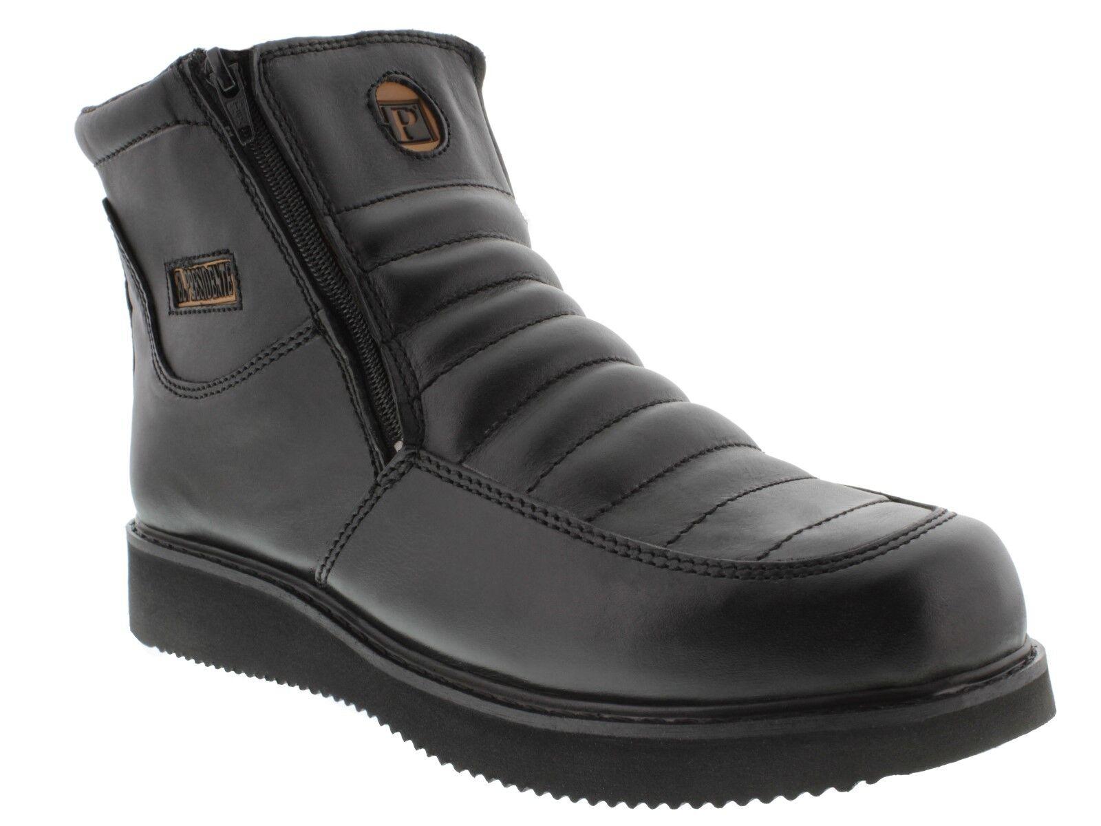 Mens Durable Black Construction Work Boots Slip Resistant Rubber Sole Zipper