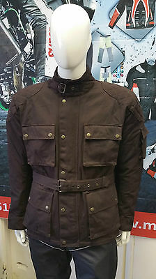 WARRIOR BROWN MOTORCYCLE COTTON WAX WP LINED BODY ARMOUR MOTORBIKE BIKER JACKETS