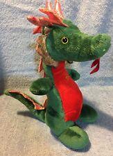 "Fiesta Dragon Plush Green Red 9 1/2 "" Soft Stuffed Animal."