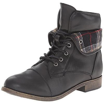 Rampage Girls Size 11 Vera Black Faux Leather Toddler 4199 Combat Boots $36.