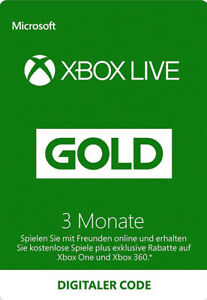 3 Monate Xbox One / 360 Live Gold Mitglliedschaft Monate Karte 3 Month Card Code