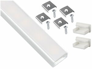 Alu-Profil-weiss-eloxiert-2m-flach-SET-Abdeckung-opal-Endkappe-fuer-LED-Band