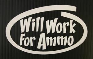 Small Gun Decal Sticker for Window Helmet Hardhat Will Work For Ammo