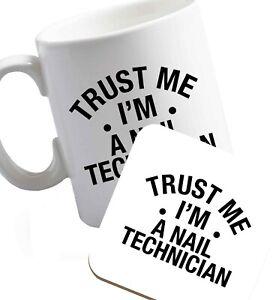 mug coaster acrylics glam gel beautician  6577 trust me I/'m a nail technician