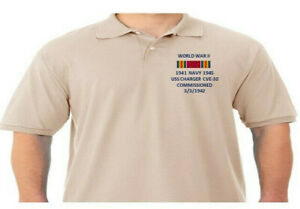 WW II RIBBON USS CHARGER CVE-30  NAVY *EMBROIDERED POLO SHIRT/SWEAT/JACKET.